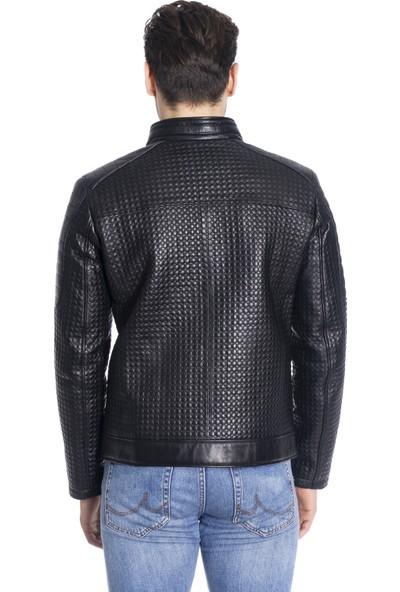 Derinss DER307 Deri Erkek Siyah Mont Ceket XL