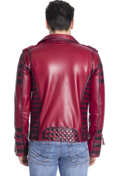 Derinss Der117 Hakiki Deri Erkek Kırmızı Mont-Ceket
