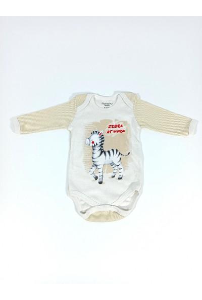 Hapşıı Kids Zebra Baskılı Çıtçıtlı Badi Zıbın