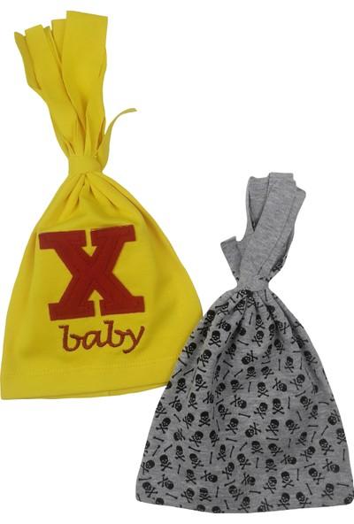 Albimama x Işli ve Kuru Kafalı Bebek Şapka 2li Set