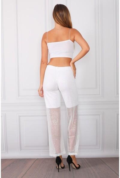 Alfa Abiye Kadın Payet Pantolon Yarım Astarlı 900 Beyaz S