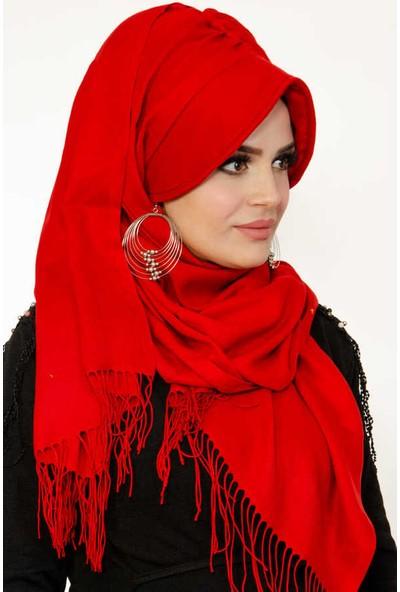 Aişe Tesettür Kırmızı Şapkalı Şal