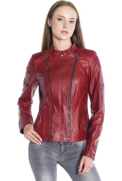 Derinss Dka1223 Deri Kadın Kırmızı Mont Ceket
