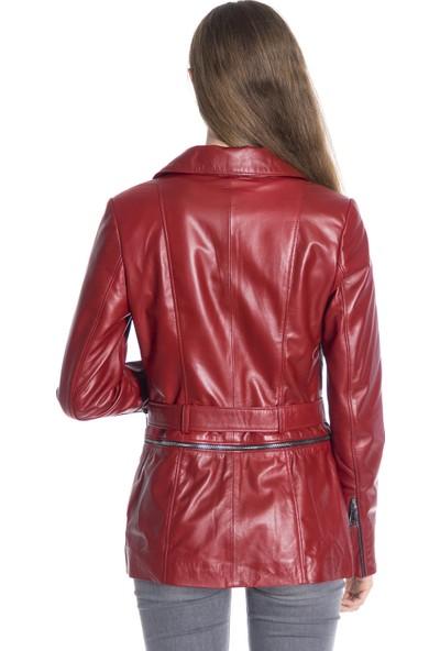 Derinss Dka1227 Deri Kadın Kırmızı Mont Kaban
