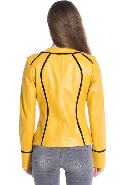 Derinss Dka2102 Deri Kadın Sarı Mont Ceket