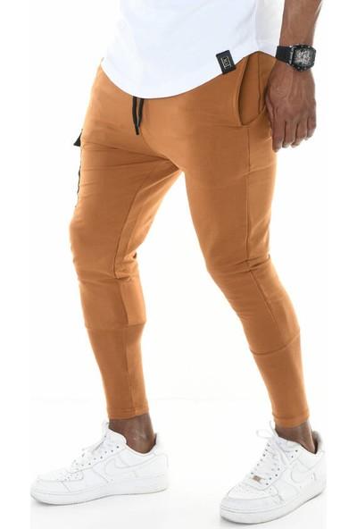 David&Gerenzo Mini Cep Detay ve Baskılı Uzun Ribana Paça Taba Eşofman Altı