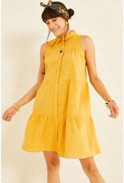 Oshebu Gömlek Yaka Sıfır Kol Elbise
