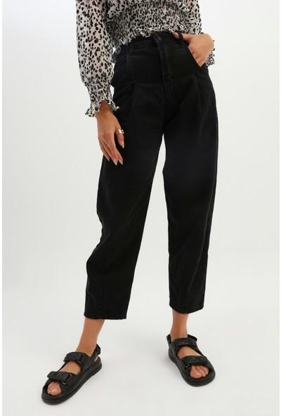 Freshion Kadın Yüksek Bel Balon Pantolon Slouchy Jeans Siyah 40