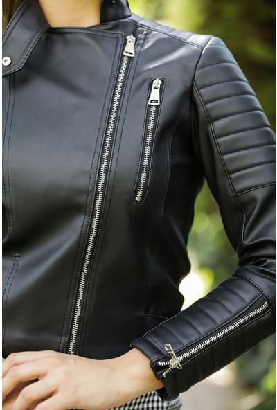 Beyaz Giyim Kadın Fermuarlı Siyah Suni Deri Ceket