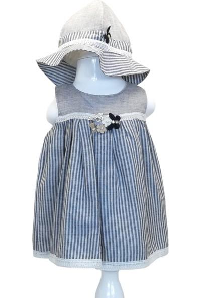 Capps Kız Bebek Elbise Şapka Ikili Set Çiçek Mavi