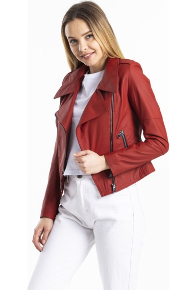 Deri Effect Kırmızı Kadın Deri Ceket