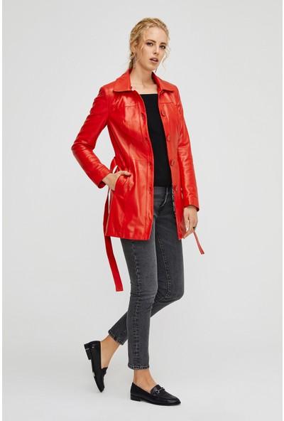 Deri Effect Kırmızı Kadın Trenchcoat
