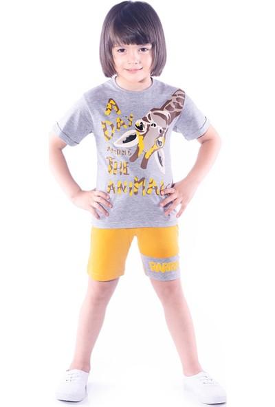 Oulabimir Yazlık Zebra Baskılı Kısakollu Şortlu Erkek Çocuk Takımı