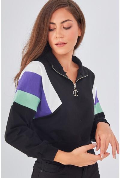 Şimal Yakası Fermuarlı Renkli Garnili Sweatshirt