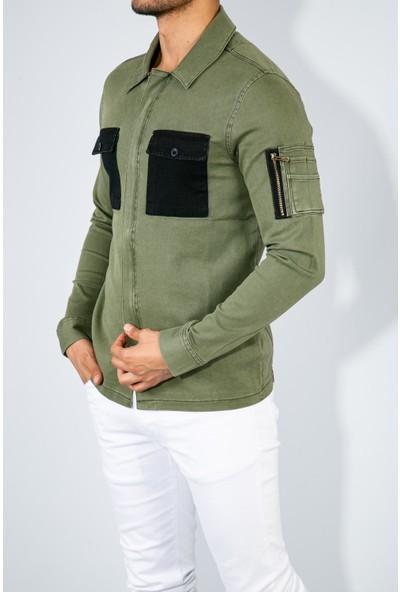 Youtwo Cep Detaylı Erkek Fermuarlı Gabardin Ceket Slim Fit
