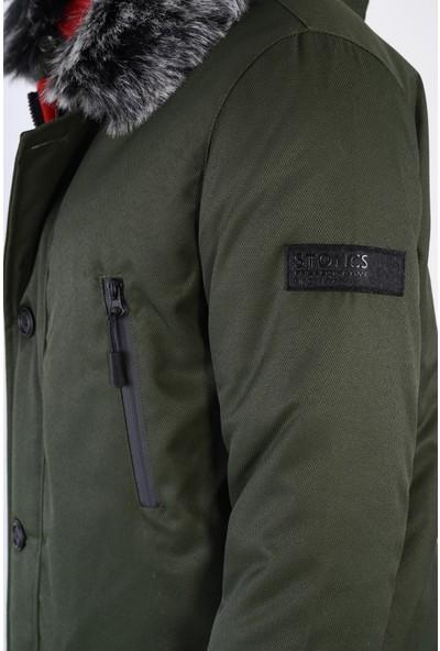 Stoncs Erkek Major Haki Çıkarılabilir Kapüşon Kürklü Kalın Kışlık Parka