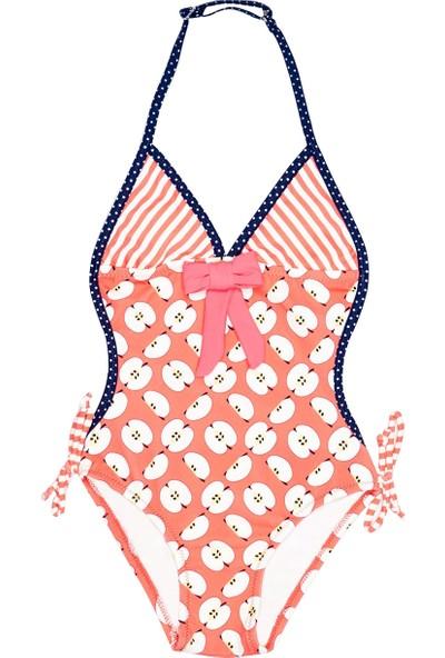 Bonesta Swimwear Elma Desenli Kız Çocuk Mayo