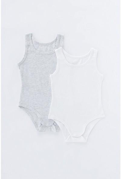 Penti Açık Gri Melanj - Beyaz Kız Çocuk Wg Basic 2'li Bodysuıt