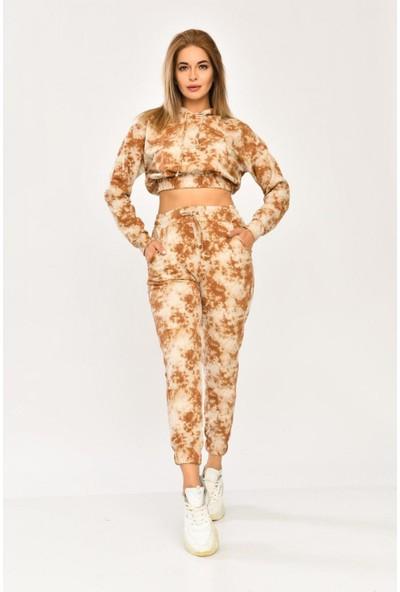 Parkkaron Batik Desenli Kapşonlu Kadın Takım Kahverengi 36