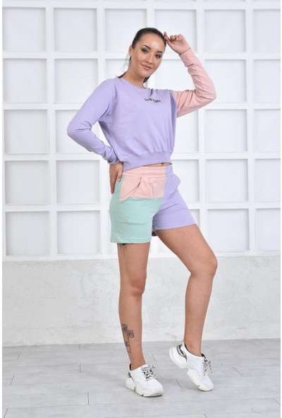 Parkkaron Renk Varyantlı Şortlu Kadın Takım Lila 38