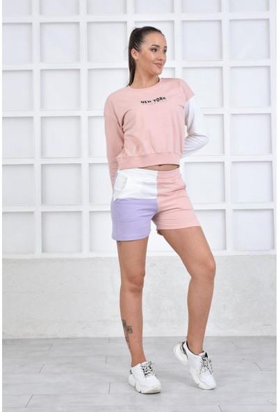 Parkkaron Renk Varyantlı Şortlu Kadın Takım Pembe 42