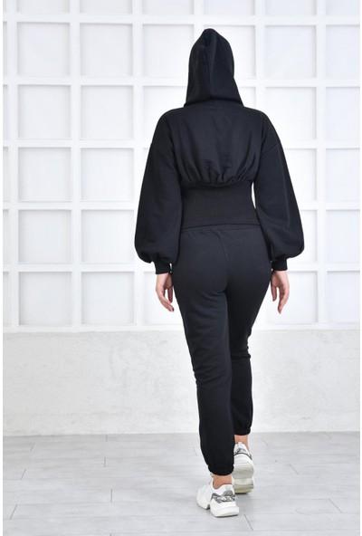 Parkkaron Korsaj Detaylı Kapşonlu Kadın Takım Siyah 42