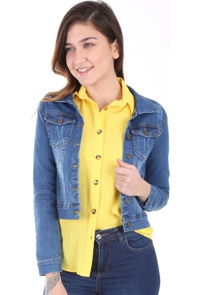 Modaplaza Kadın Cepli Koyu Mavi Kısa Ceket 0612