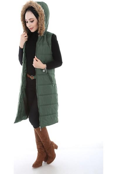 Modaplaza Kadın Kapüşonlu Kürklü Yeşil Uzun Şişme Yelek 5088