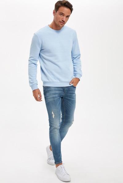 Defacto Erkek Bisiklet Yaka Regular Fit Basic Sweatshirt