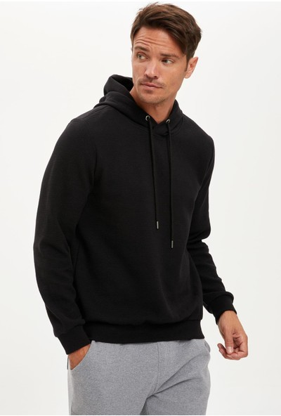 Defacto Erkek Kapüşonlu Regular Fit Basic Sweatshirt