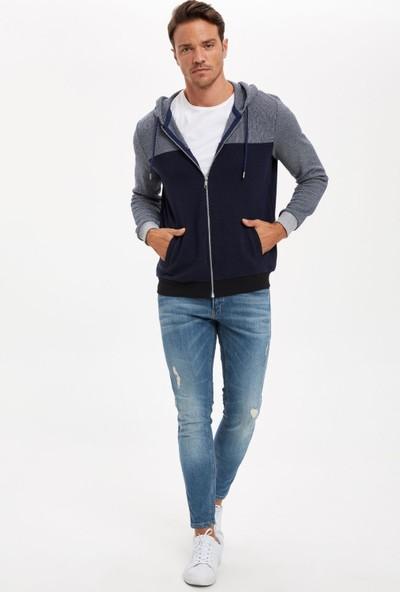 Defacto Erkek Regular Fit Kapüşonlu Fermuarlı Sweatshirt