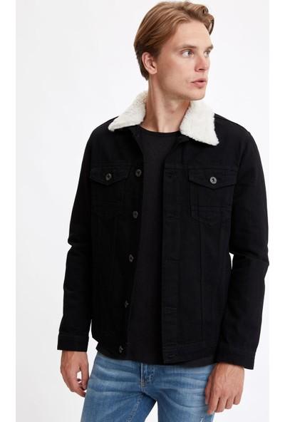Defacto Erkek Yakası Peluş Kürklü Slim Fit Jean Ceket