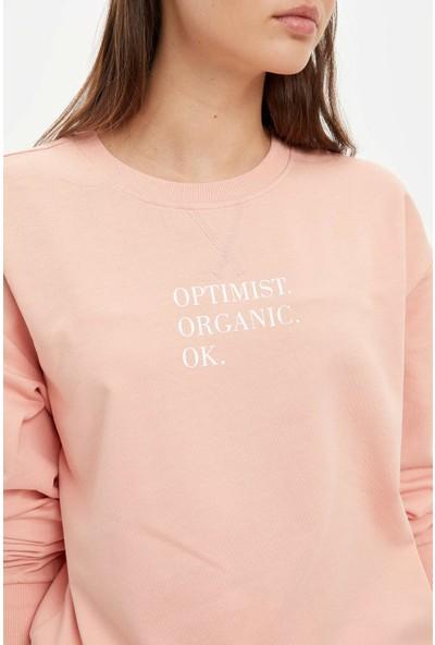 Defacto Kadın Boho Relax Fit Yazı Baskılı Sweatshirt