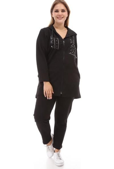 Mia Butik Siyah Kapşon Ve Pul Palet Detaylı Eşortman Takımı 46 Siyah