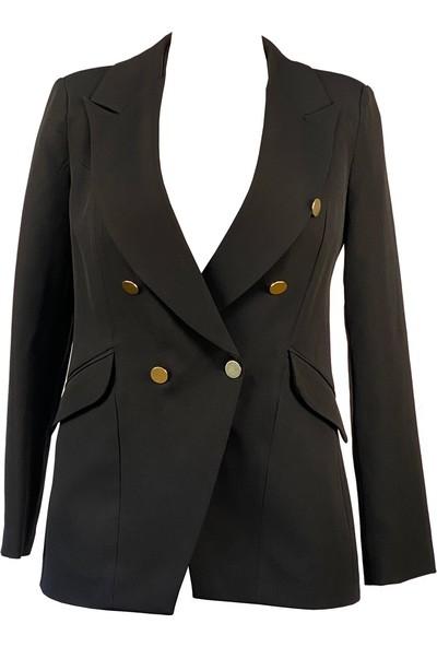 Lefital Kadın Siyah Blazer Düğme Detaylı Ceket M