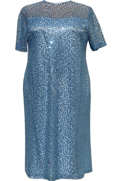 Lefital Kadın Mavi Payet Dantel Astarlı Büyük Beden Abiye Elbise 44