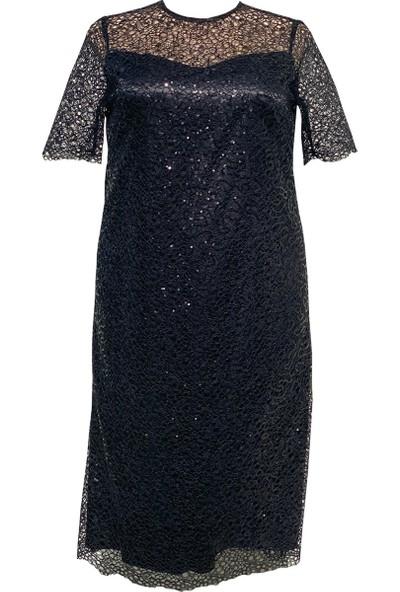 Lefital Kadın Siyah Payet Dantel Astarlı Büyük Beden Abiye Elbise 44