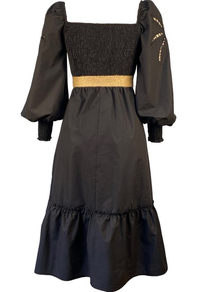 Lefital Kadın Siyah Nakış Detaylı Kemerli Maksi Elbise L
