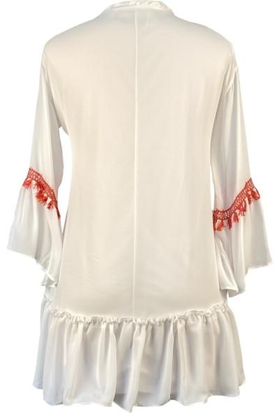 Lefital Kadın Beyaz Püskül Detaylı Etnik Şifon Elbise S