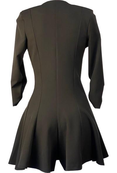 Lefital Kadın Siyah Şortlu Ceket Elbise XS