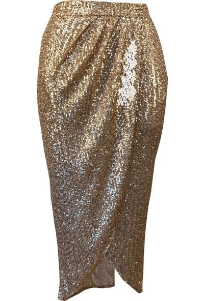 Lefital Kadın Altın Asimetrik Yırtmaçlı Pul Payet Etek XL