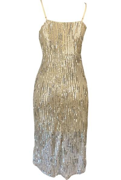 Lefital Kadın Altın Saçaklı Payet Askılı Abiye Elbise M