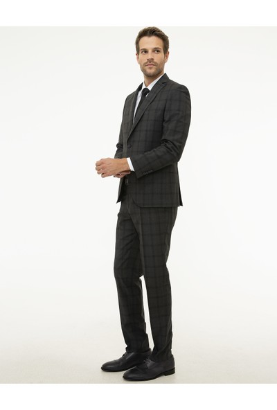 Pierre Cardin Ekose Antrasit Ekstra Slim Fit Takım Elbise 50216634-VR006