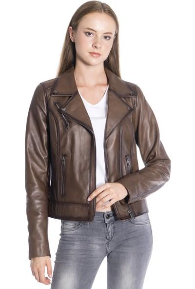 Derinss DKA2048 Deri Kadın Taba Ceket