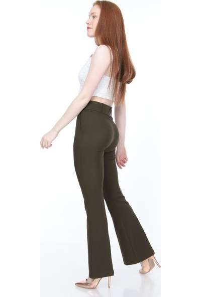 Bluence Beli Kemerli Haki Kumaş Pantolon 40