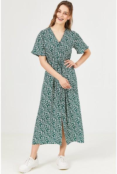 Loukai Kruvaze Yaka Desenli Midi Elbise