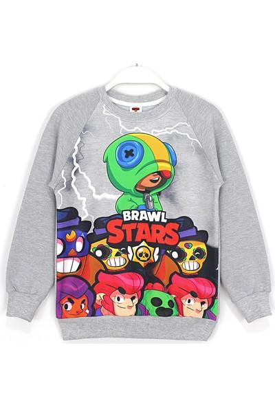 Brawl Stars Karakterleri Baskılı Erkek Çocuk Sweatshirt 4 - 12 Yaş Gri