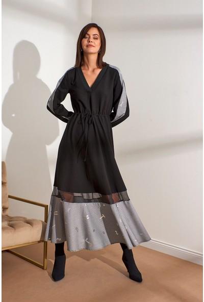 Setre Siyah V Yaka Kumaş Mixli Midi Boy Elbise
