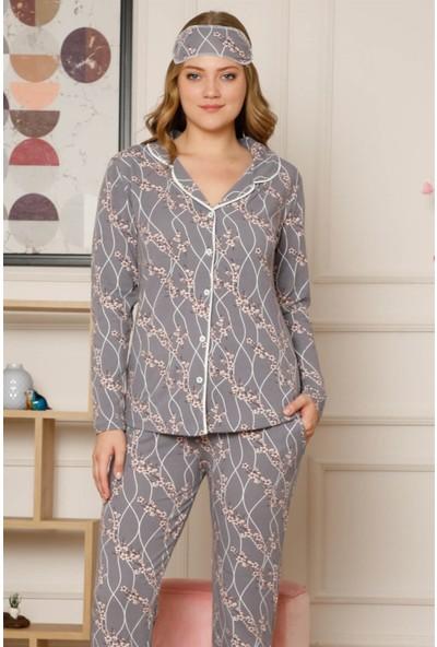 Akbeniz Kadın Pamuklu Düğmeli Cepli Şardonlu Uzun Kol Pijama Takım 2496