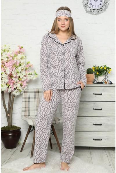 Akbeniz Welsoft Polar Önden Düğmeli Kadın Pijama Takımı 8082
